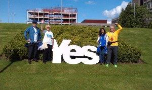Yes sign on the grass outside the Civic Centre